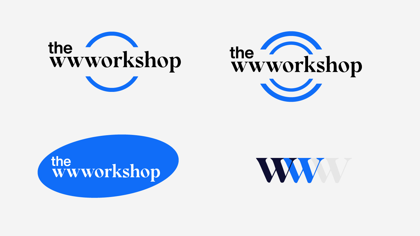 Several draft versions of the wwworkshop logo that didn't make the final cut