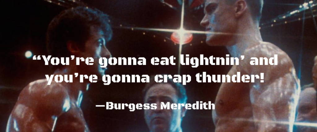 Burgess Meredith in Rocky.  Black Ops One