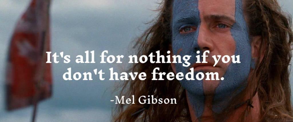 Mel Gibson in Brave Heart. Inknut Antiqua Masculine Google Font