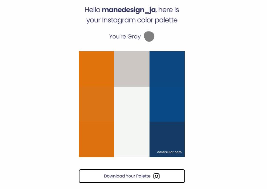 ColorKuler Instagram colour palette for Mane Design JA