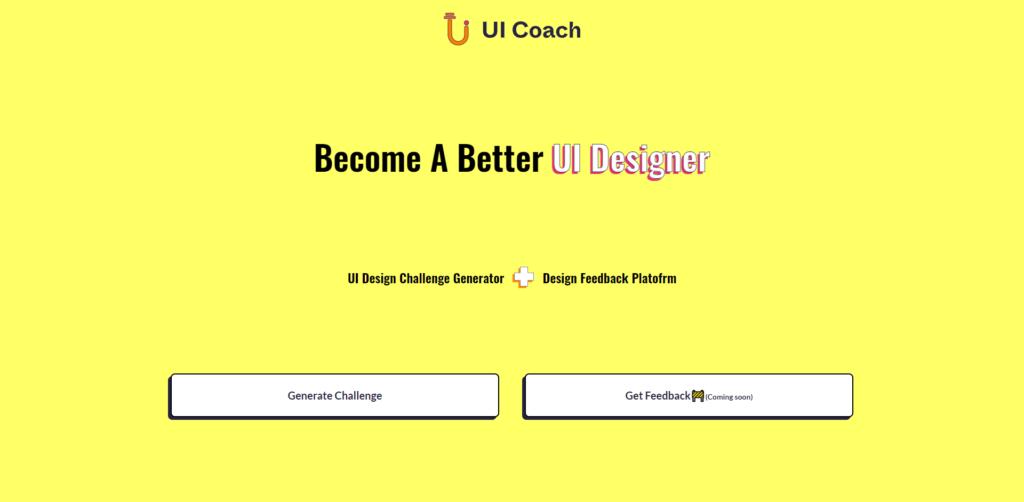 UI coach landing page