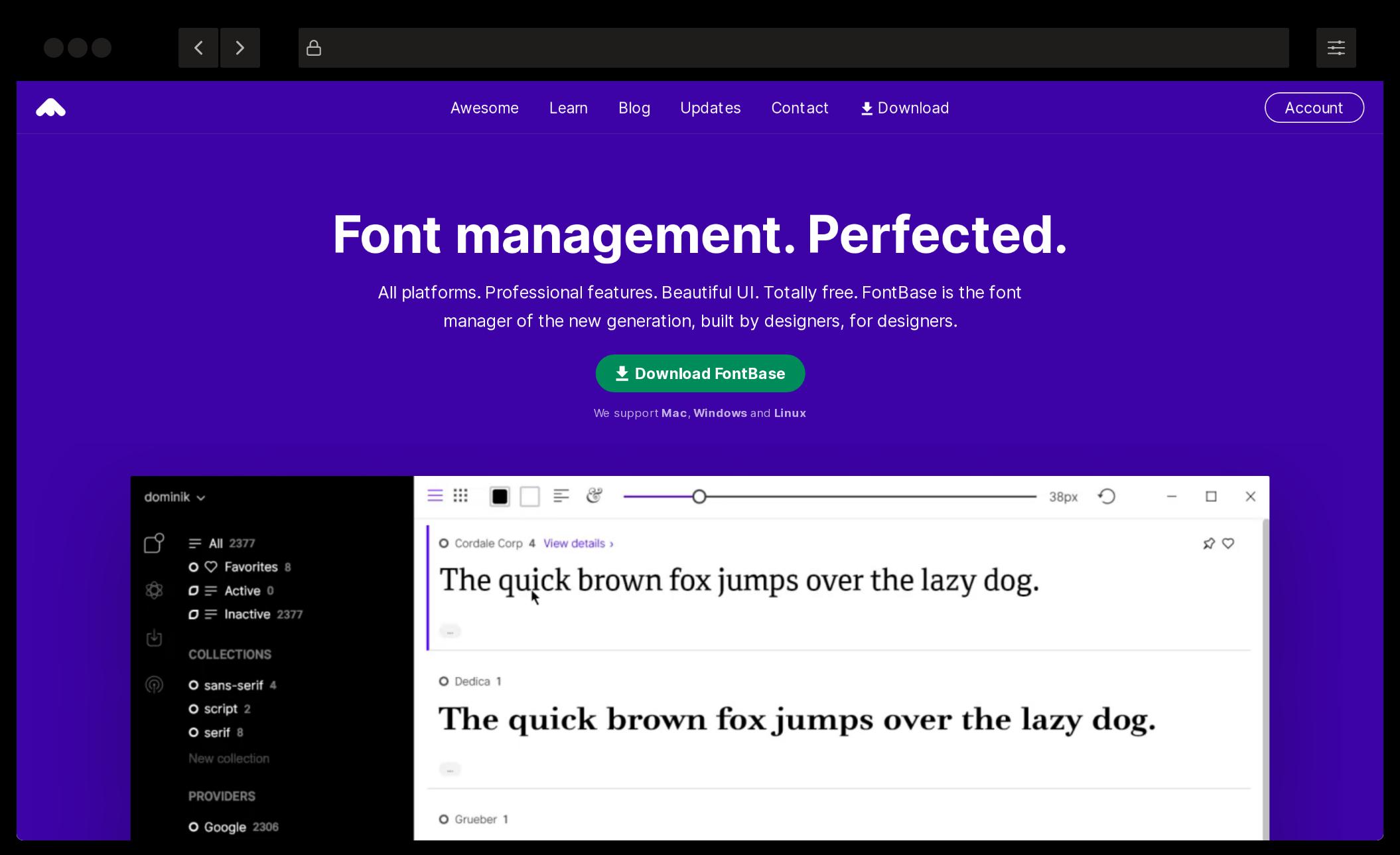 Fontbase font manager homepage