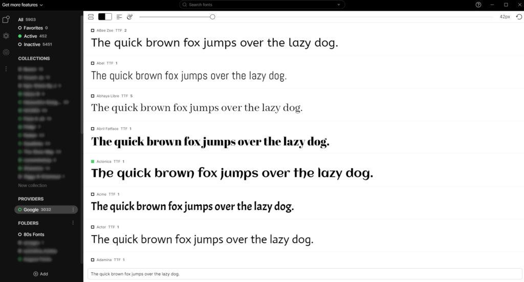 The Fontbase dashboard