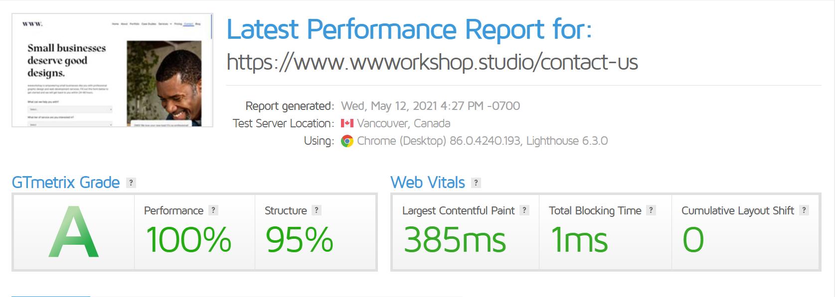 Contact Page GTMetrix Score