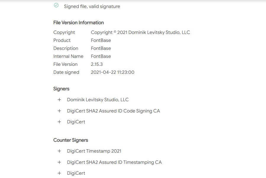 File version information and Digital Signatures
