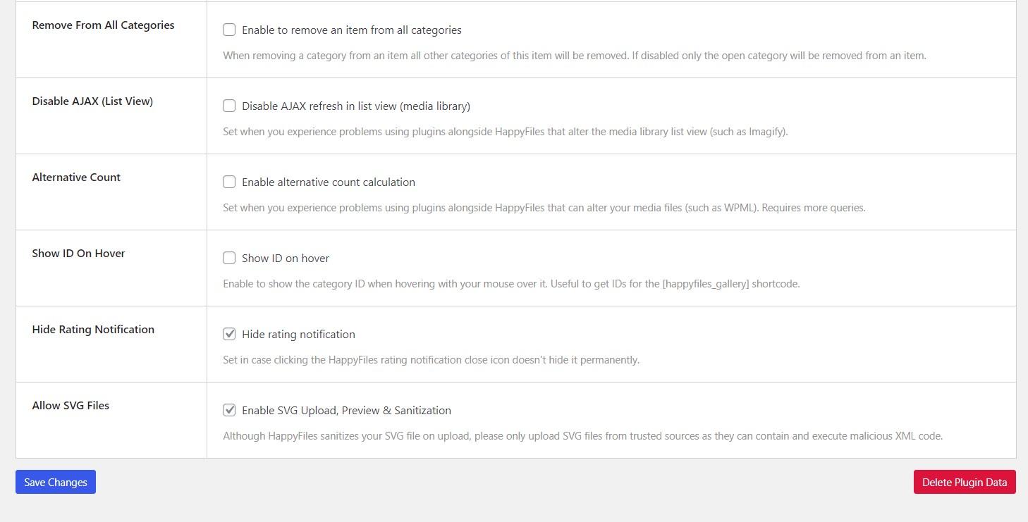 screenshot of HappyFiles Pro settings
