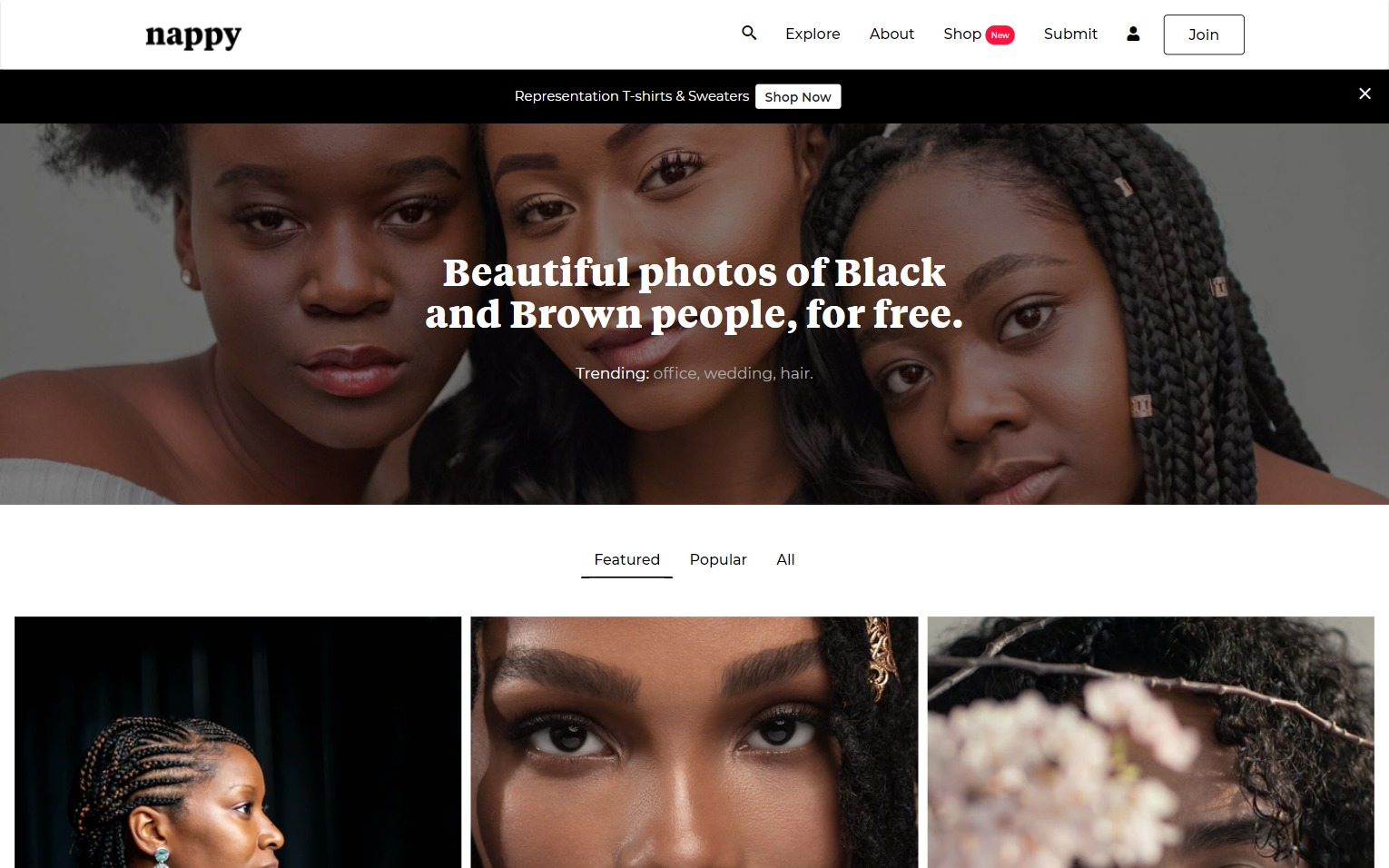 Nappy stock photos homepage with 3 beautiful POC women