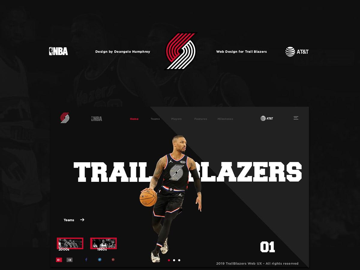 Trailblazers website redesign concept by Deangelo Humphrey