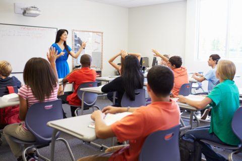School class - teacher and pupils.