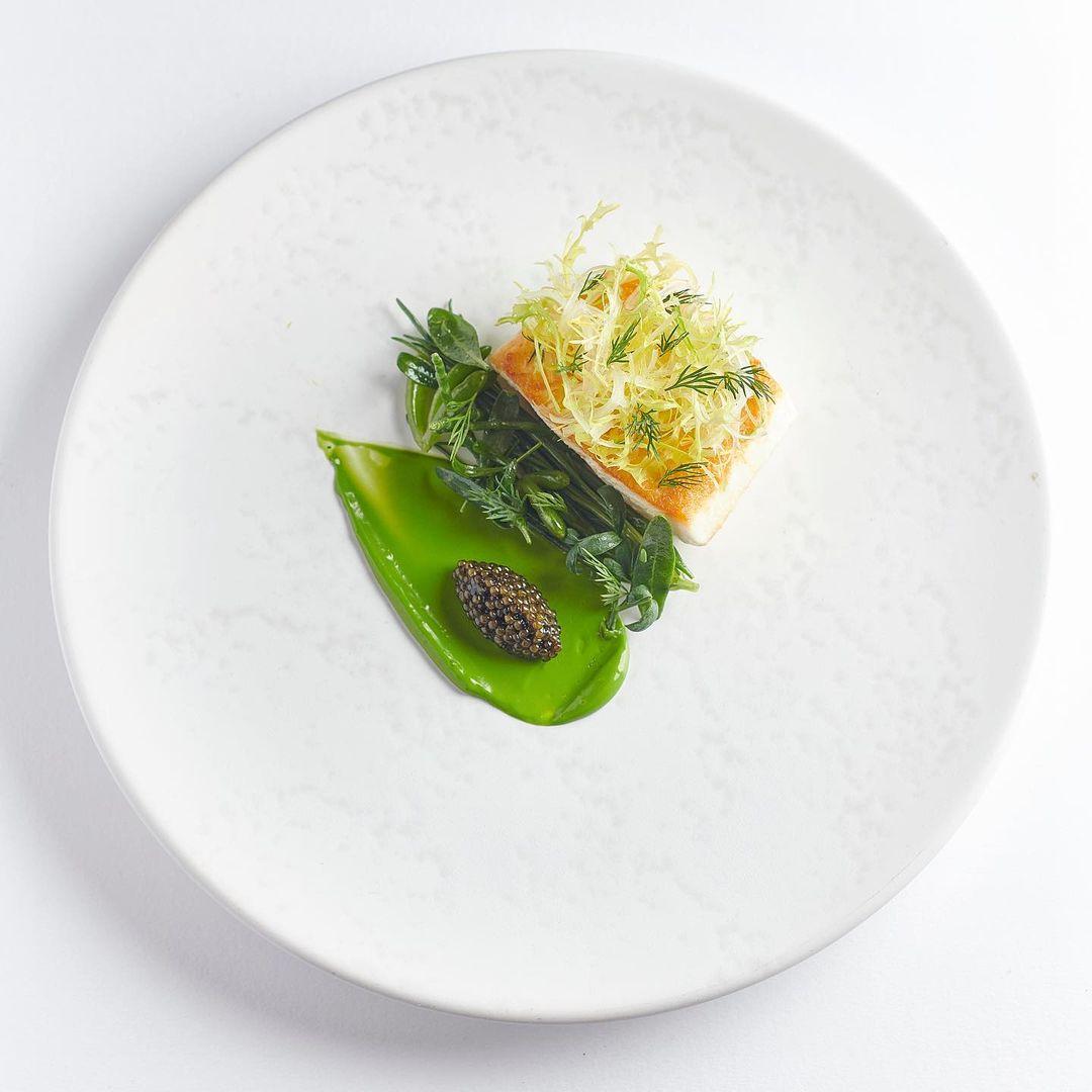 Halibut, green curry, caviar