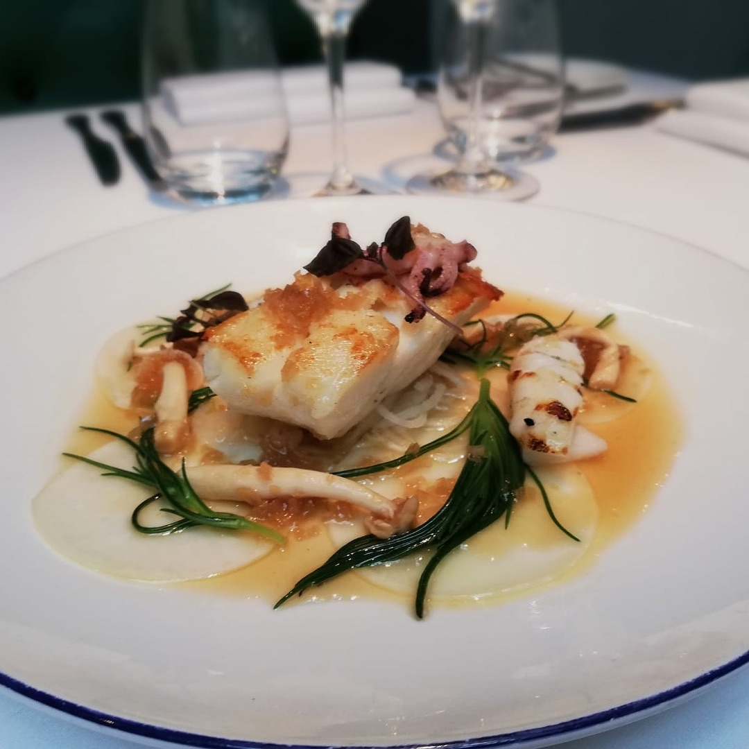 Roast cod with baby squid, monk's beard, shimeji, Tokyo turnip and a soy, ginger and shallot dressing
