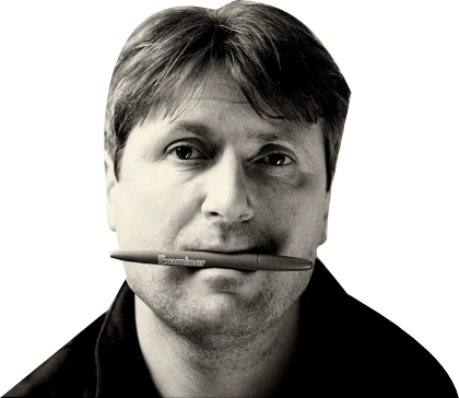 Simon Armitage med penna i mun