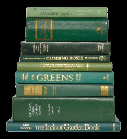Gröna böcker på hög