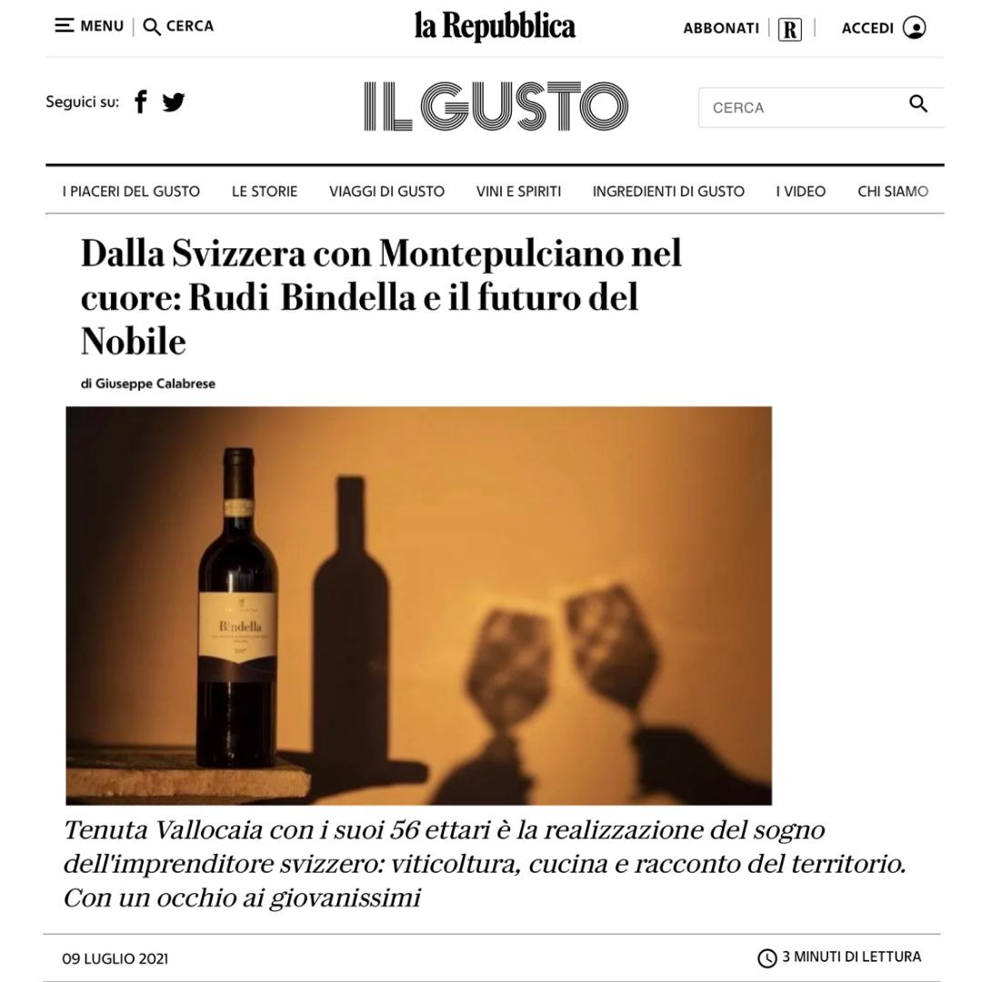 Il Gusto - La Repubblica: Dalla Svizzera con Montepulciano nel cuore: Rudi Bindella e il futuro del Nobile