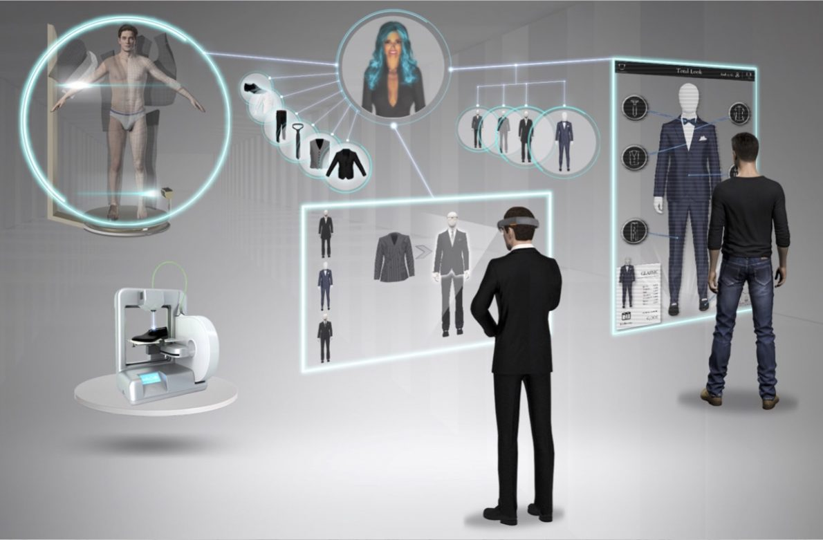 Illustration people trying AR platform for fashion customization and personalization