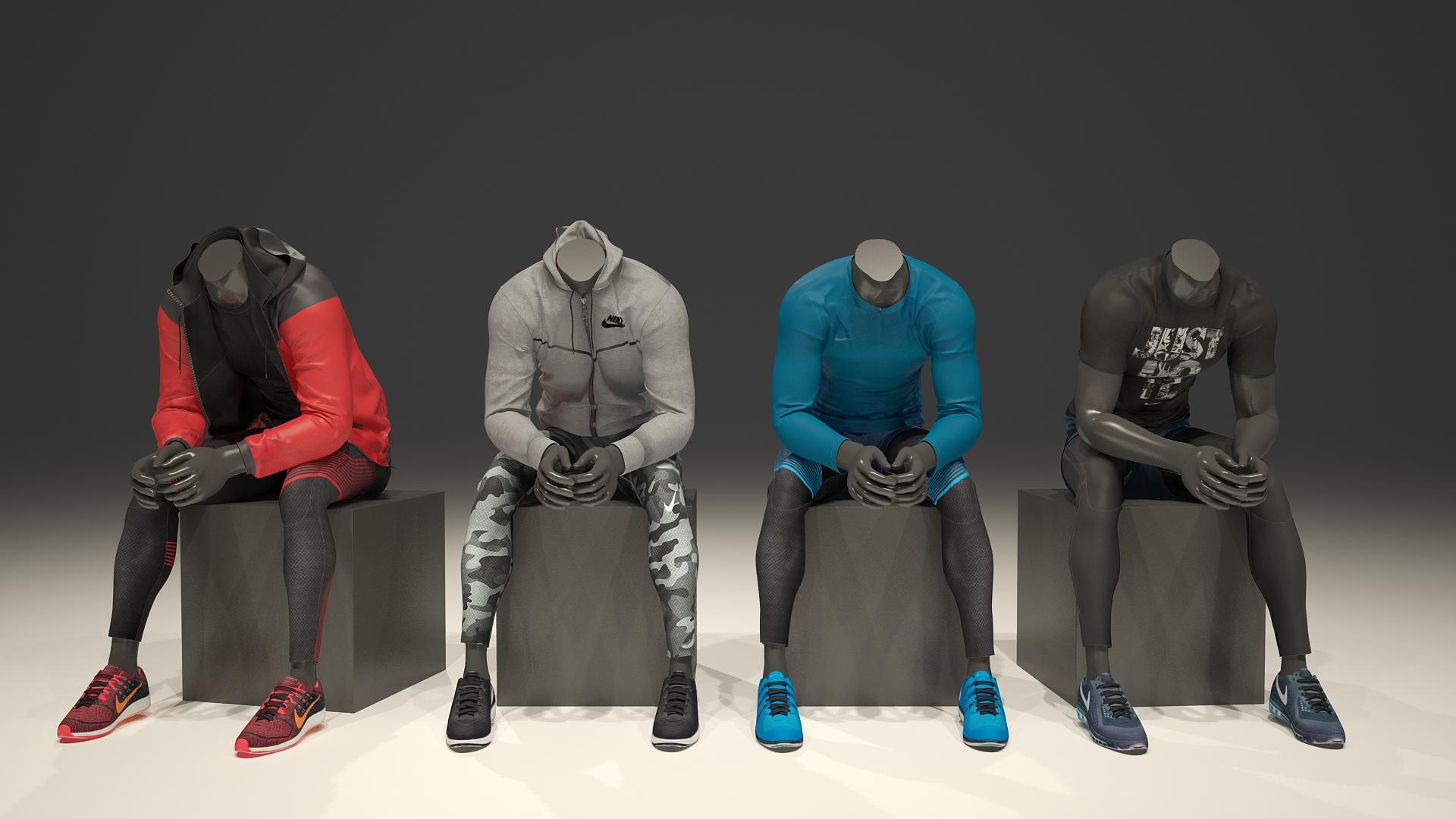 3D models wearing 3d garments
