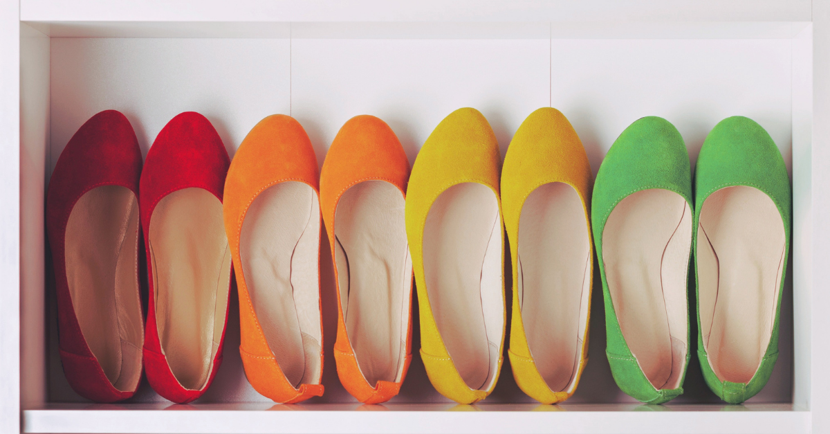 lining of shoes in different collors red orange yellow and green
