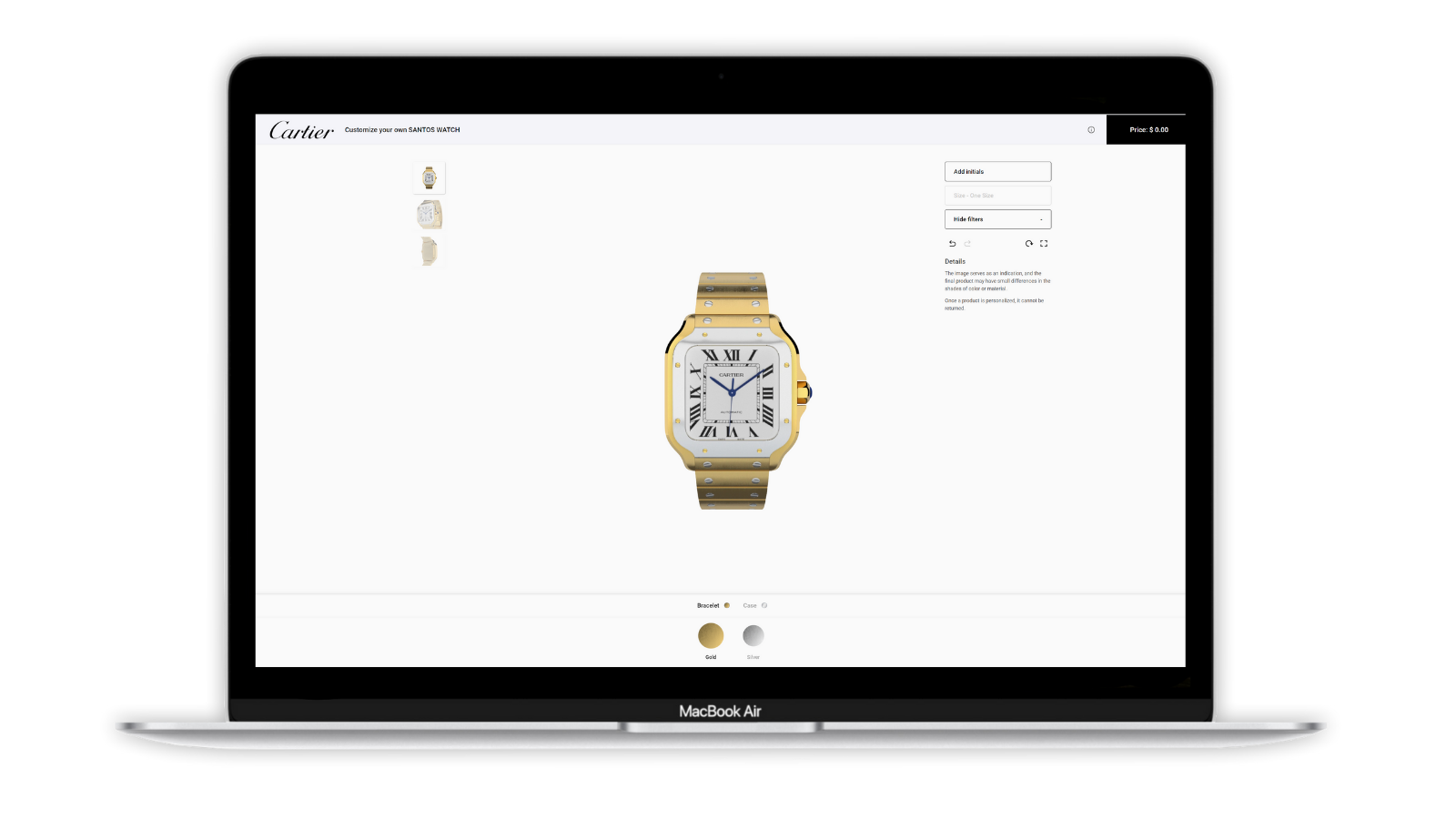 A simulation of Cartier watch on PlatformE Ripe White.