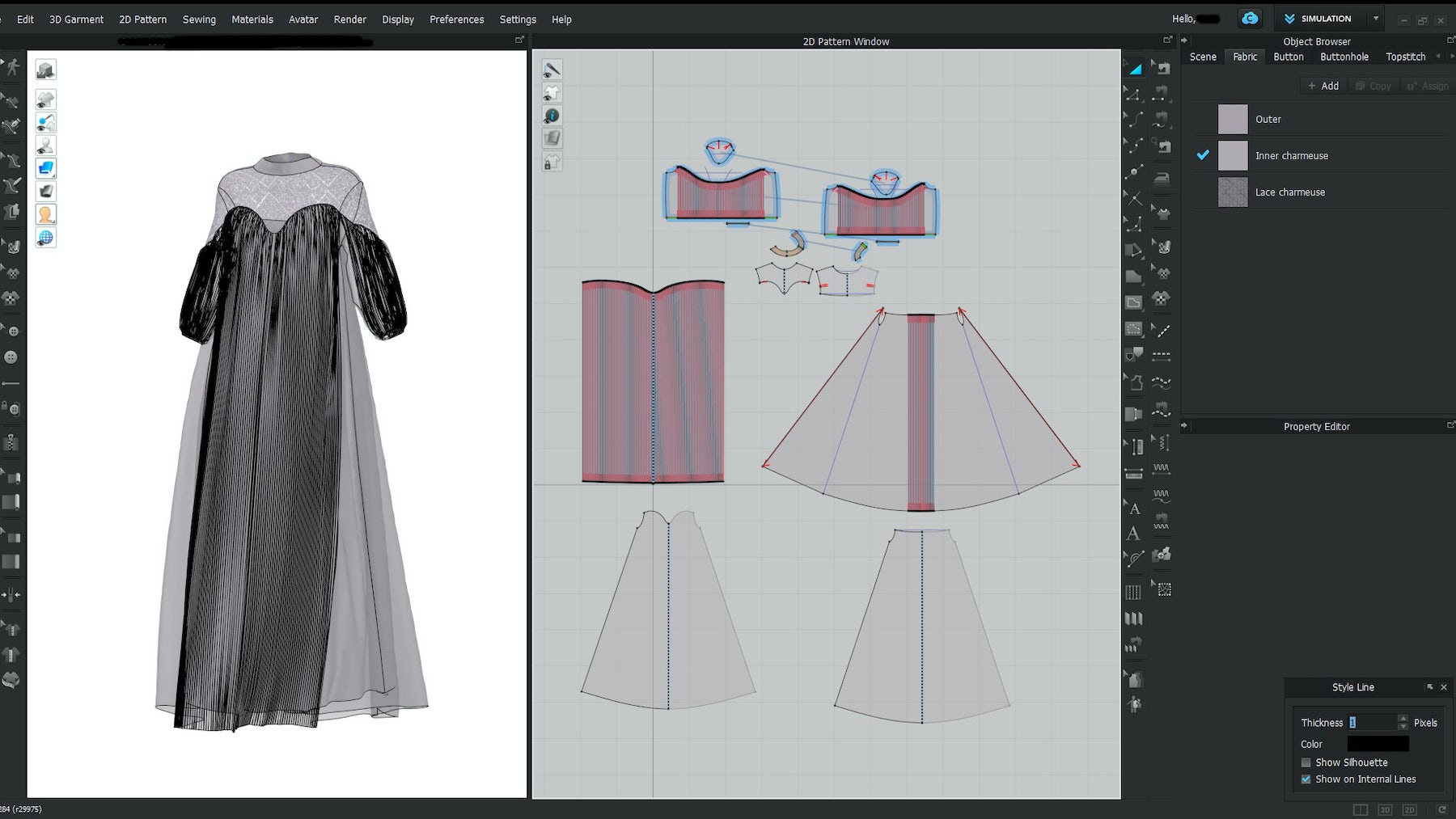 a 3D dress being designed in CLO3D software