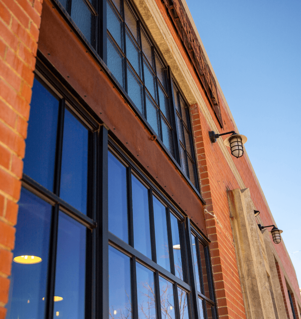 Brick building wall with windows