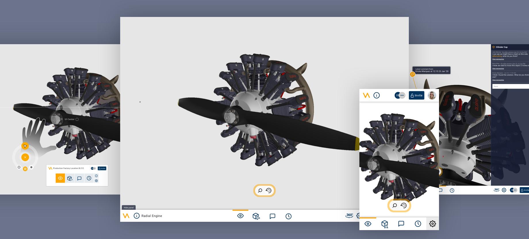Design snapshots of the Virtalis XR Webplatform