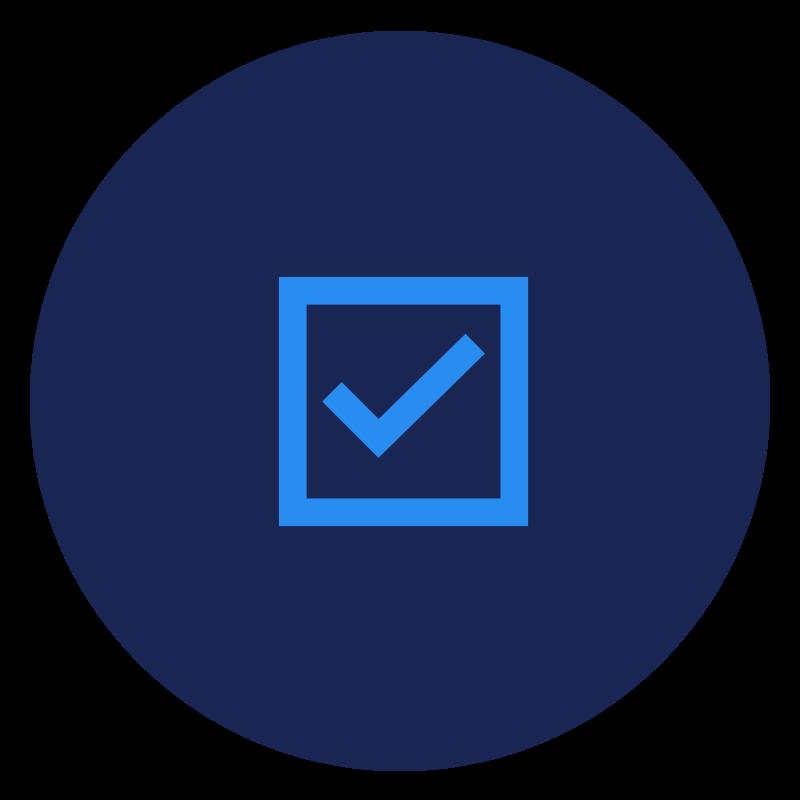 Blue checkmark box icon