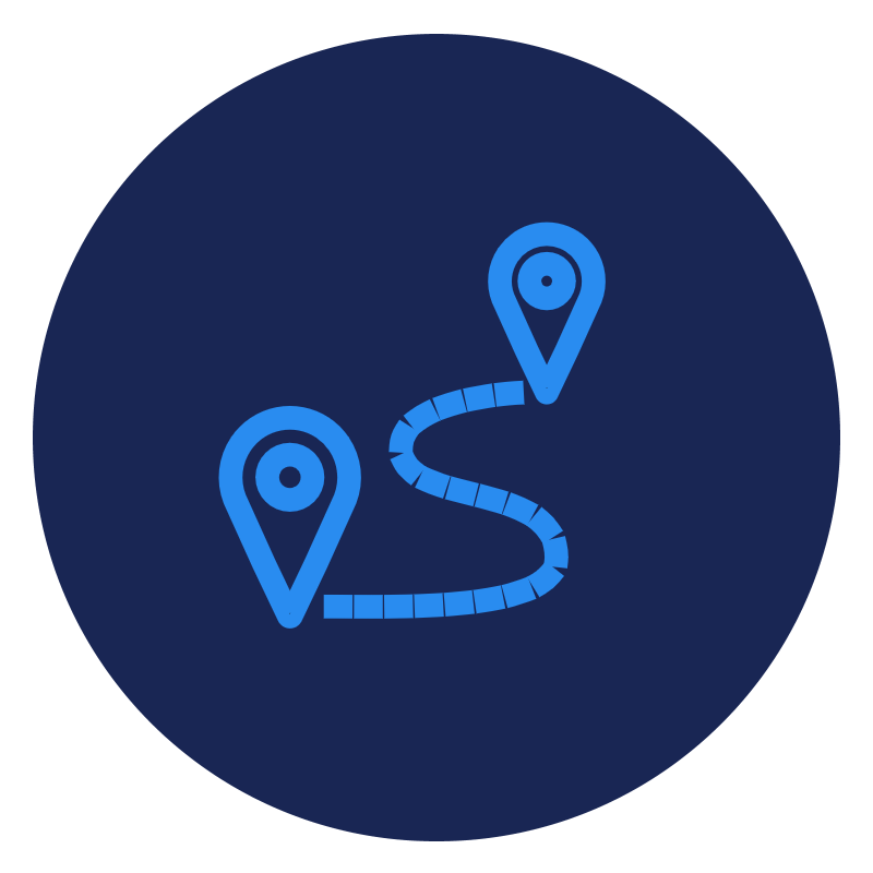 Blue start and destination pin icon