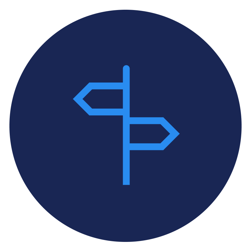 Blue direction sign icon