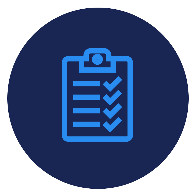Clipboard with check marks icon