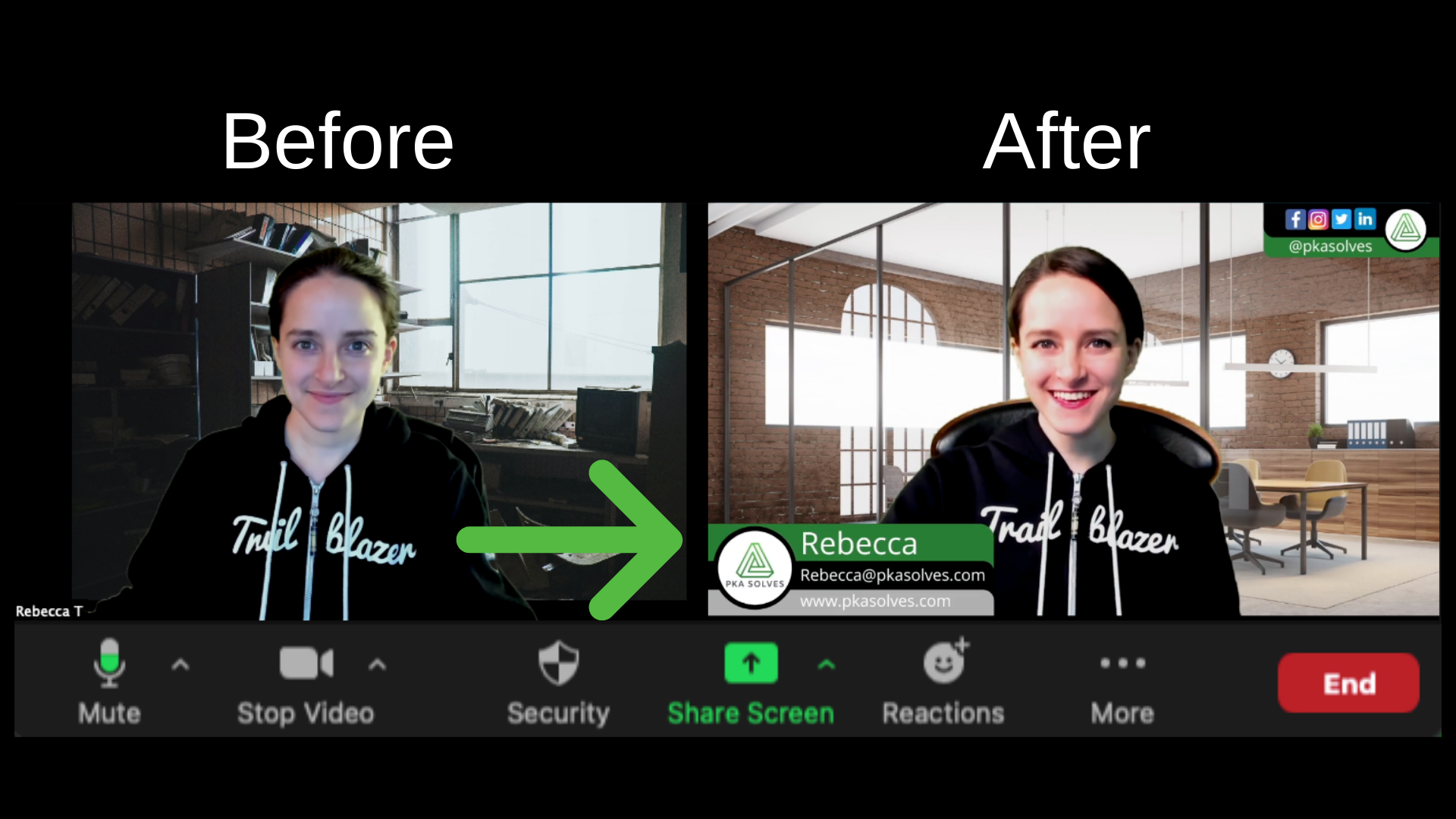 Two pictures side by side of before and after a woman gets Broadcast Ready