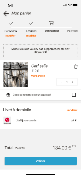 screen tunnel d'achat étape vérification
