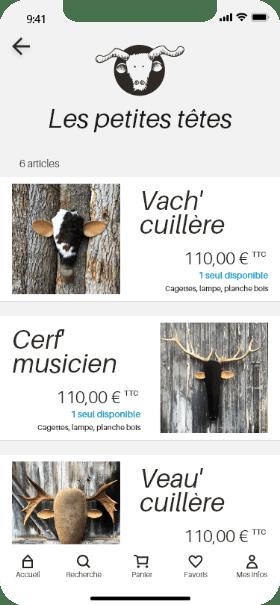 écran page produits