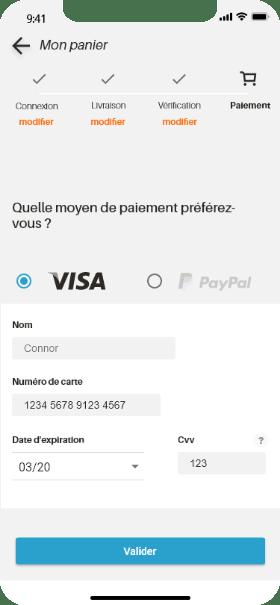 écran paiement
