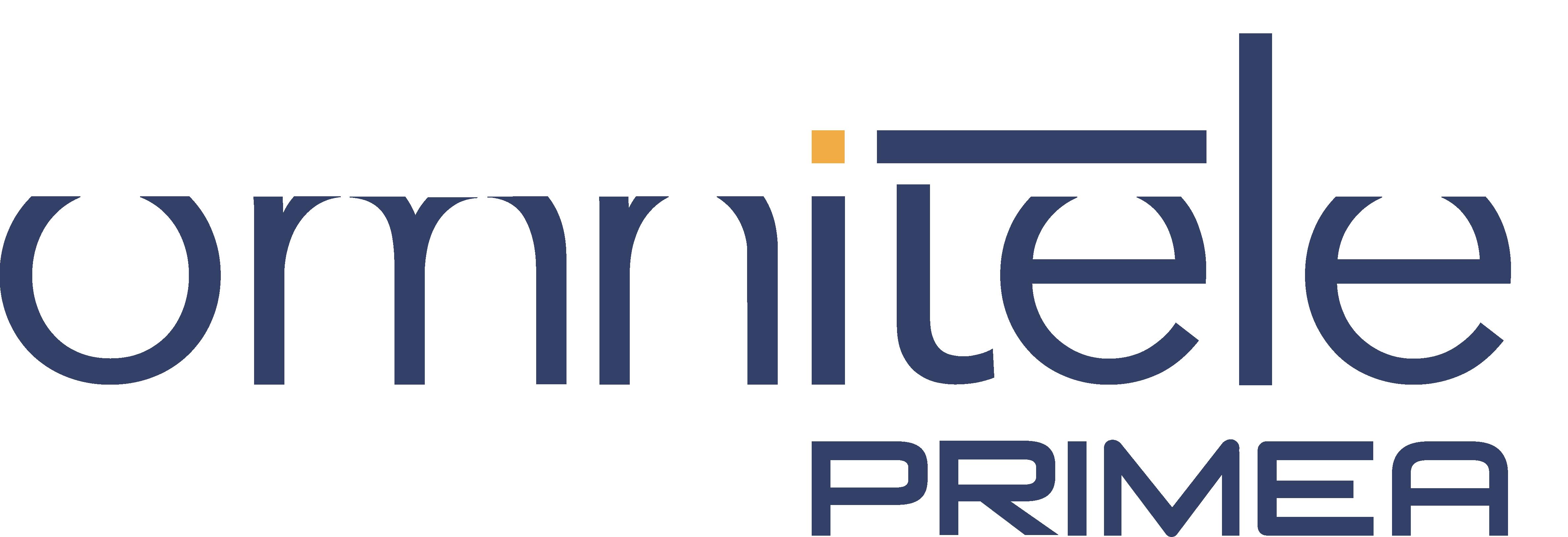 Omnitele PRIMEA logo in blue and yellow