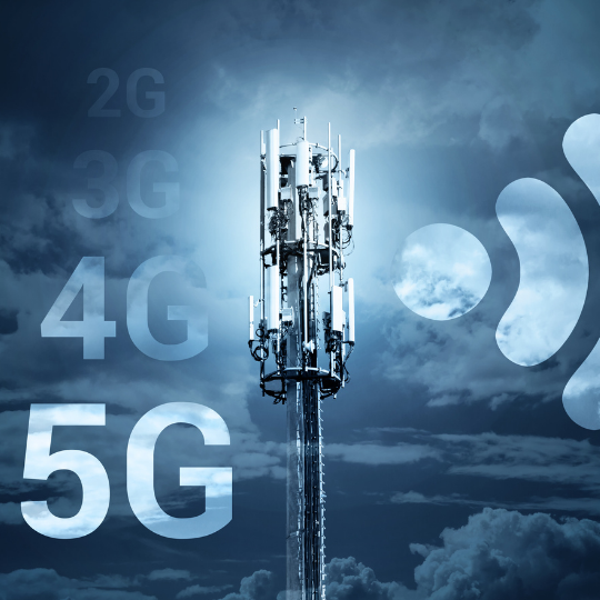 Mobile network antenna with a technological background in blue. 2G,3G,4G, 5G text on the left