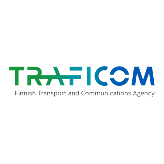 TRAFICOM Finnish Transport and Communications Agency logo in blue and green
