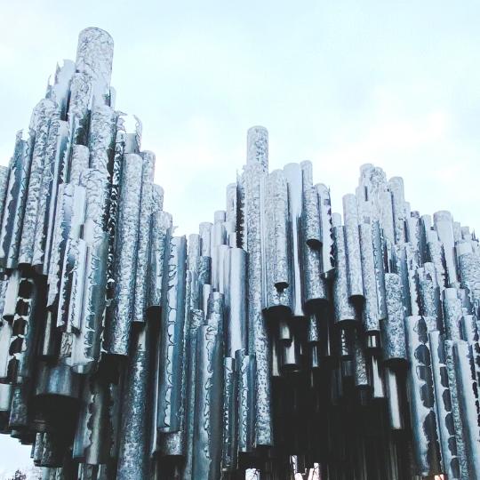 Sibelius monument in Helsinki during sunset.