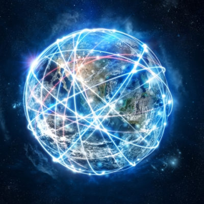 MORAN shared network. A world with light beams around it, showing connectivity
