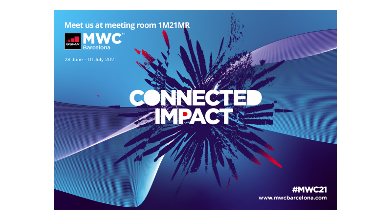 GSMA MWC 2021 Barcelona. Blue, purple and a little bit of red. Mobile World Congress