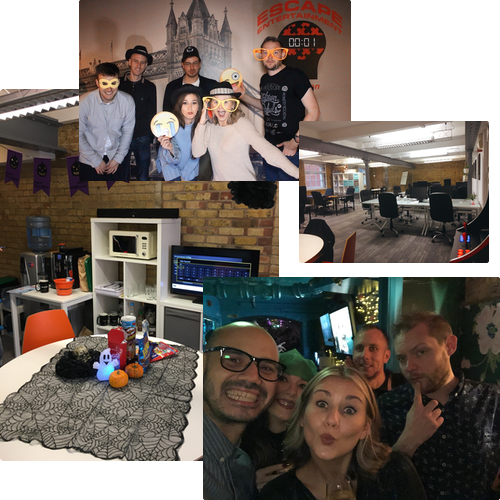 Collage image of Snaptrip Group office and team