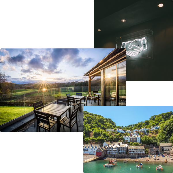 Collage image of a property, handshake image and picture of the UK coast