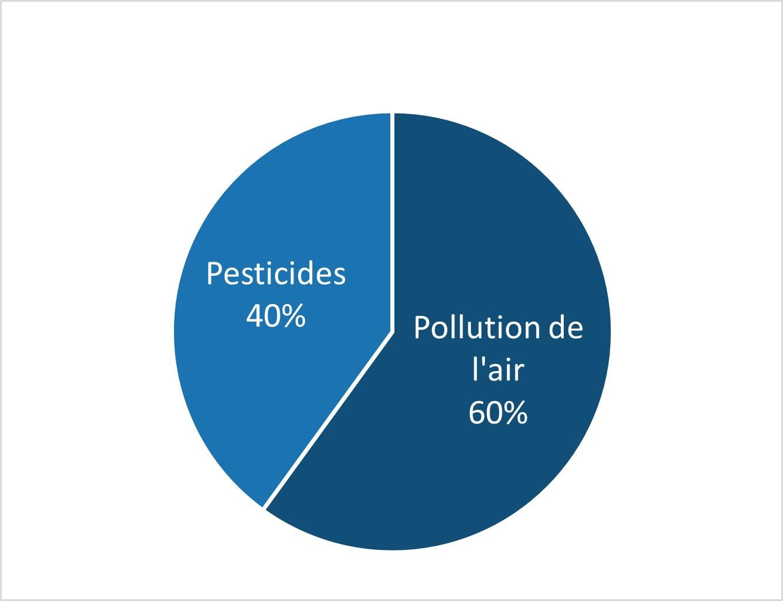 Répartition du score santé environnementale : 40 % pesticides et 60 % pollution de l'air
