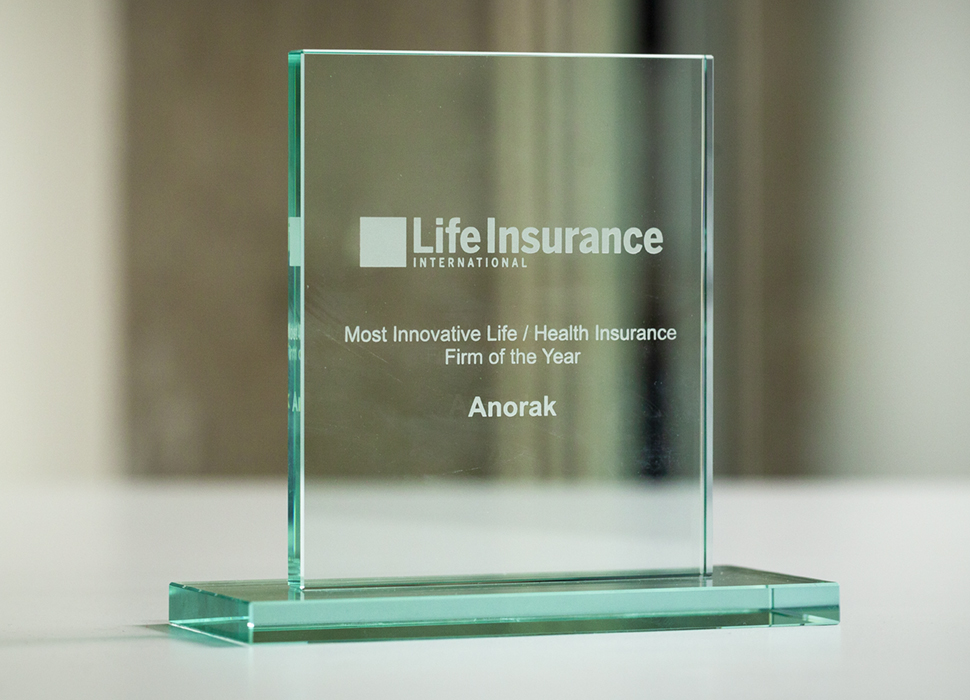Anorak is awarded Most Innovative Life / Health Insurance Firm of the Year.