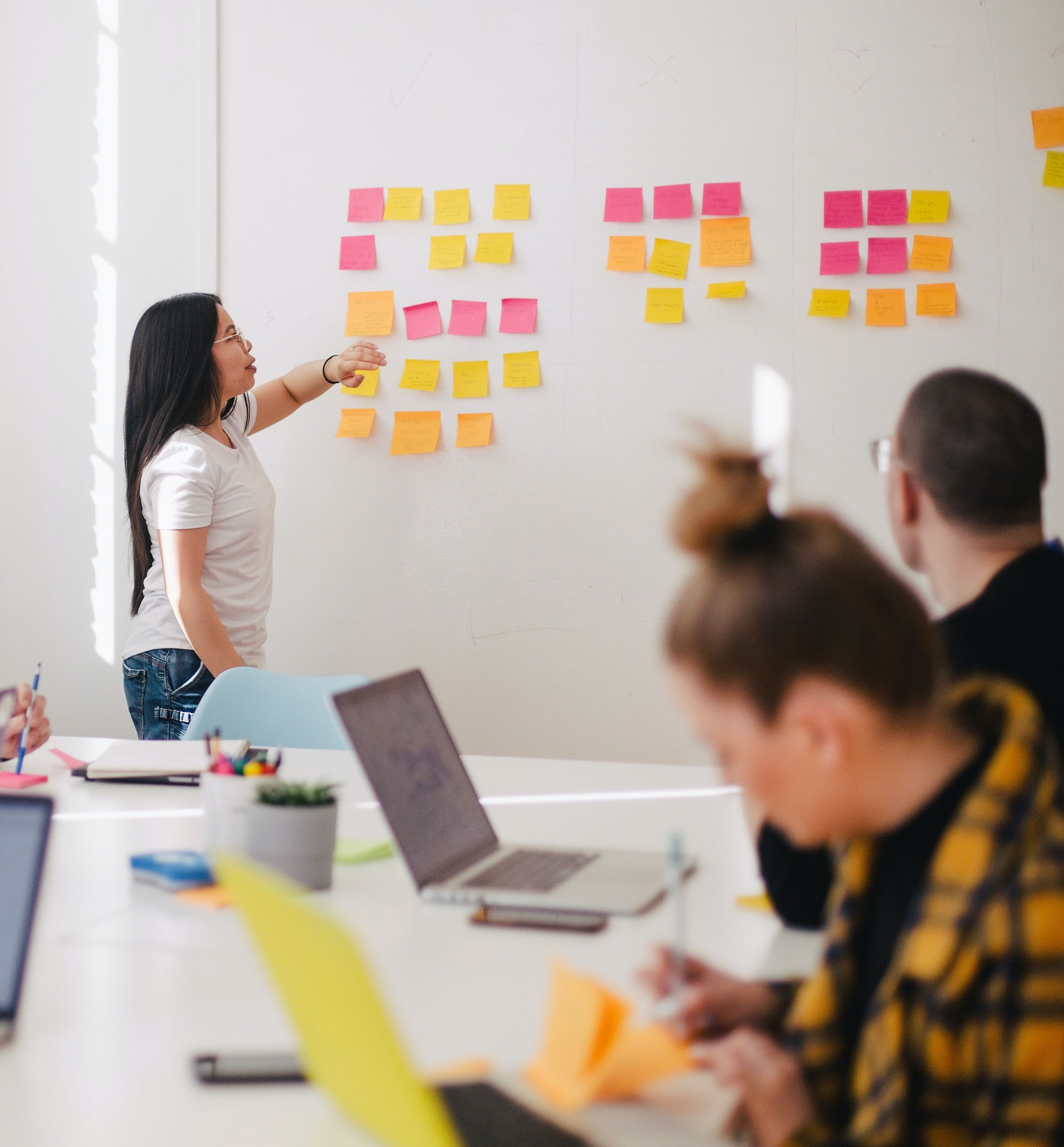 A team discussing and placing sticky notes in a whiteboard