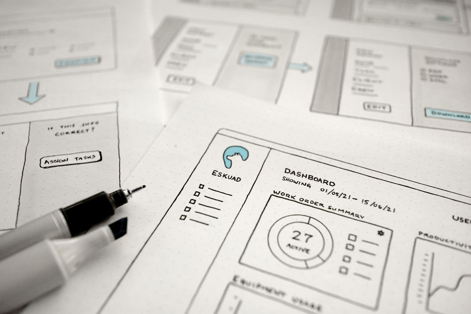 Sketches of UI ideas.