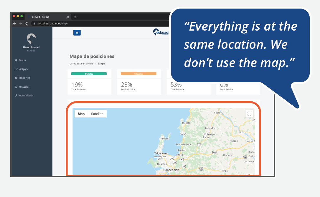 """quote that says, """"Everything is at the same location. We don't use the map."""""""