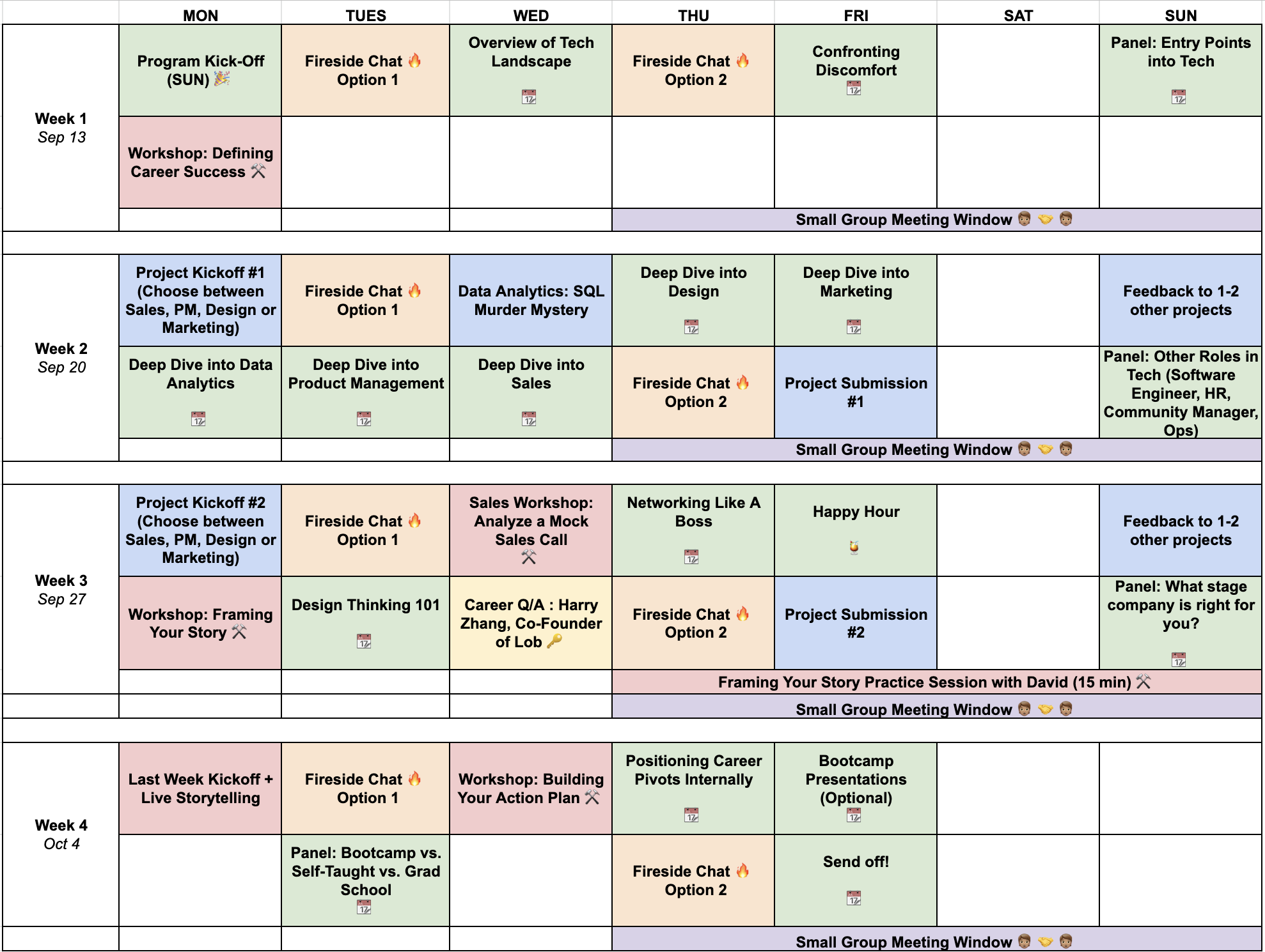 schedule of Possible