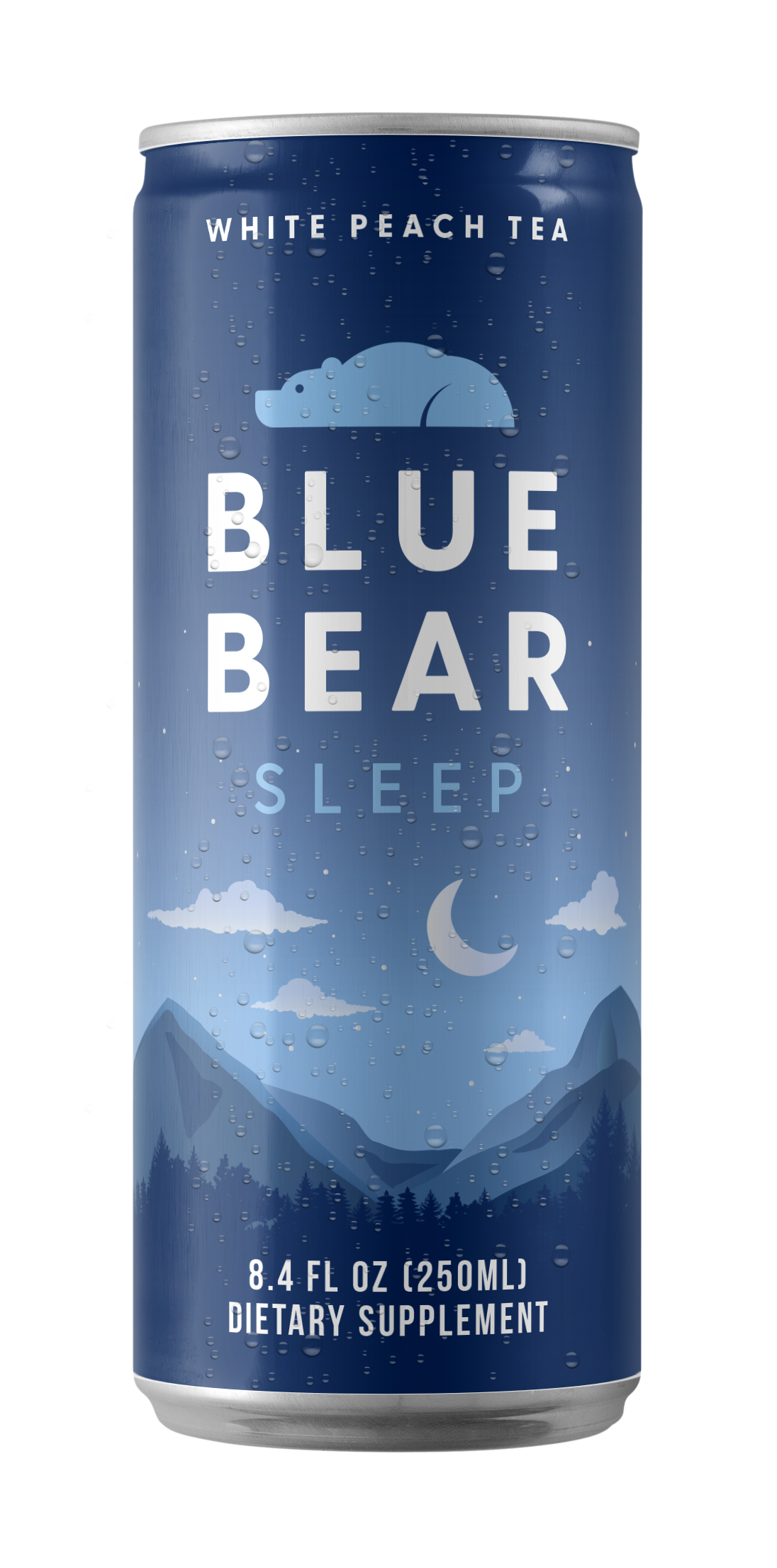 Can of Blue Bear Sleep White Peach Tea