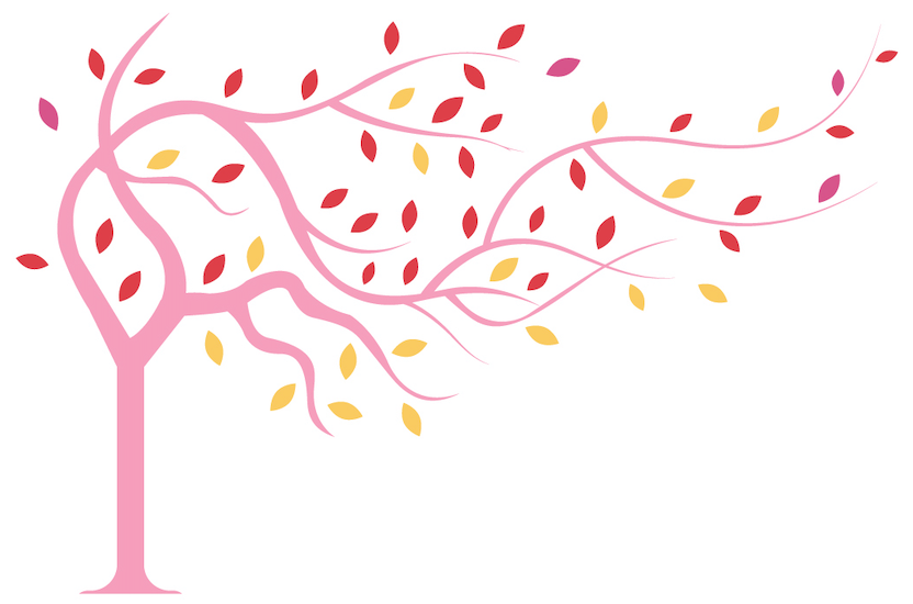 An elegant, curved pink tree with red and yellow leaves. It curves up and to the right