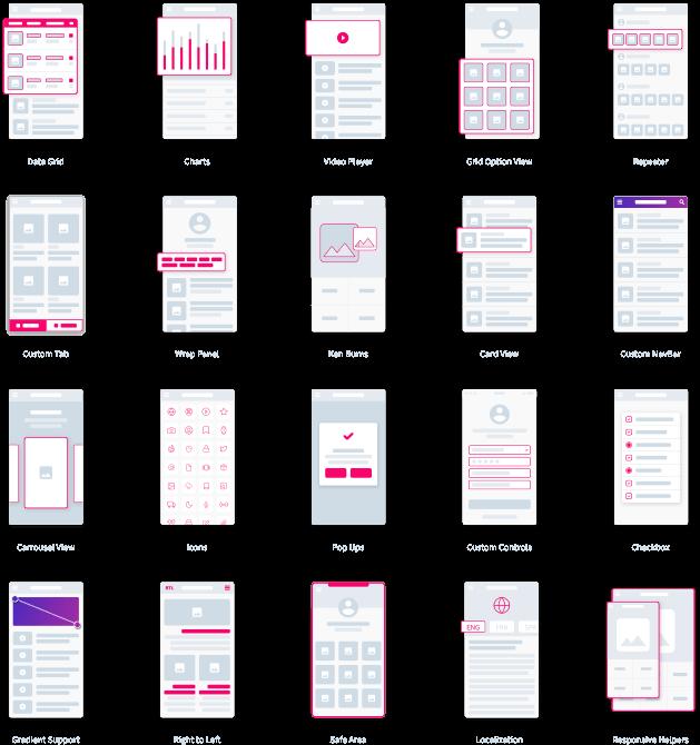 Custom Tab Grial UI Kit Xamarin.Forms XAML